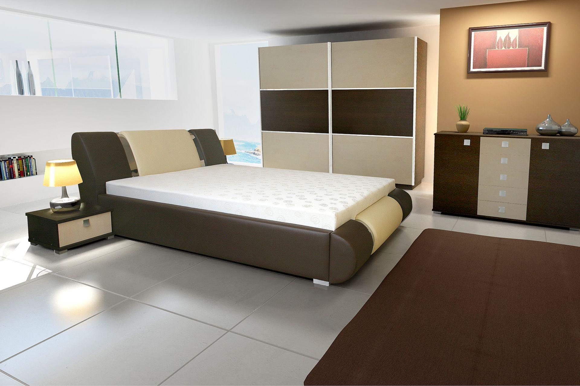 łóżko Sypialne Z Materacem 176 Cm Fiolet