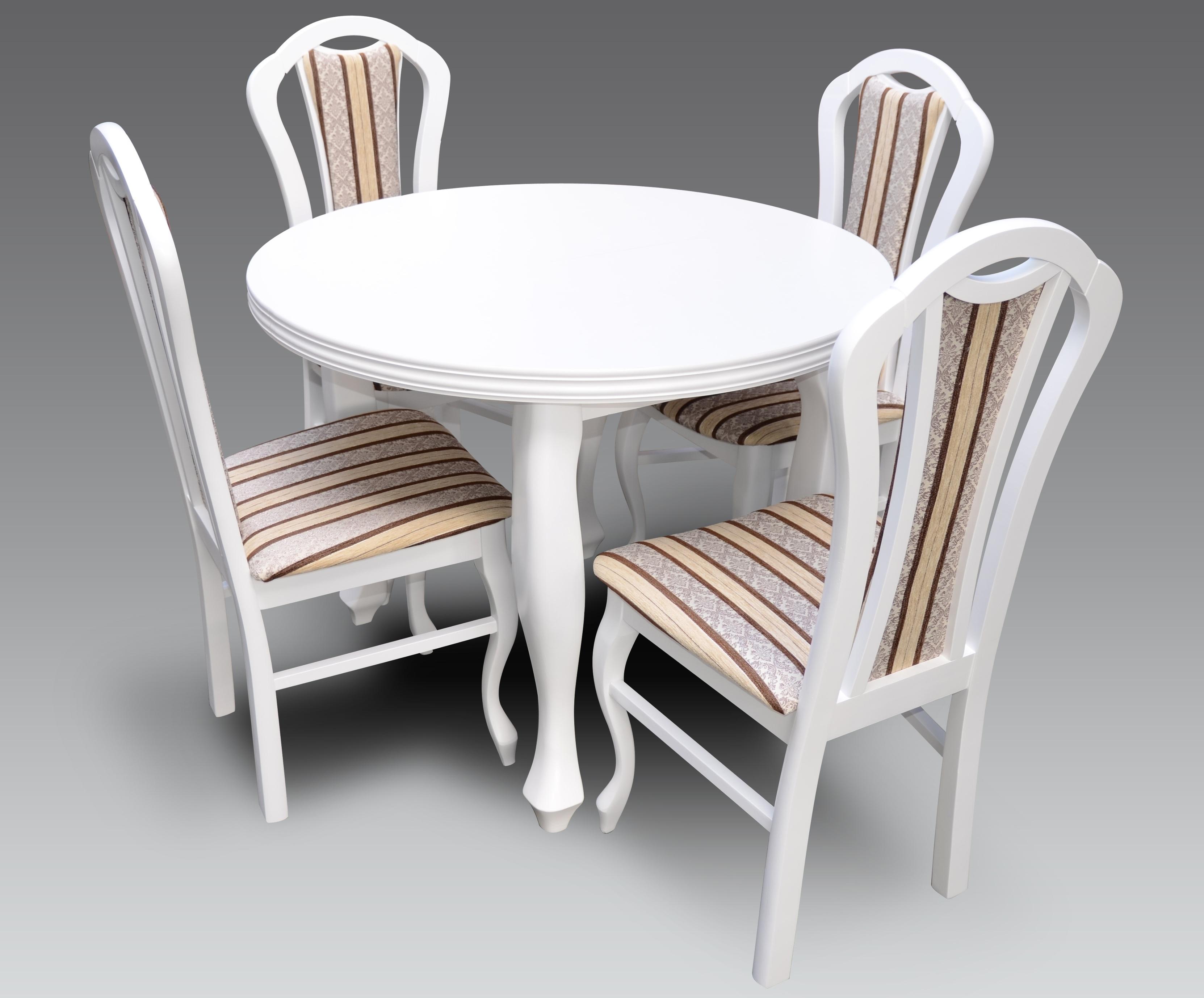 Chłodny Stół okrągły biały 4 krzesła R22 GJ69