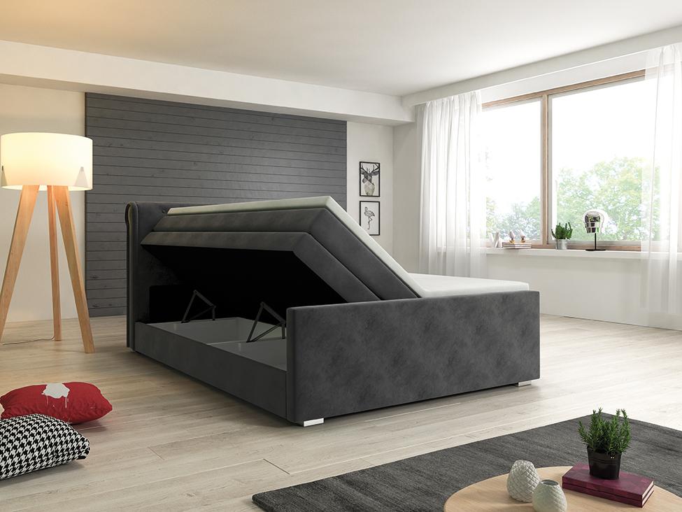 łóżko Pikowane Szare