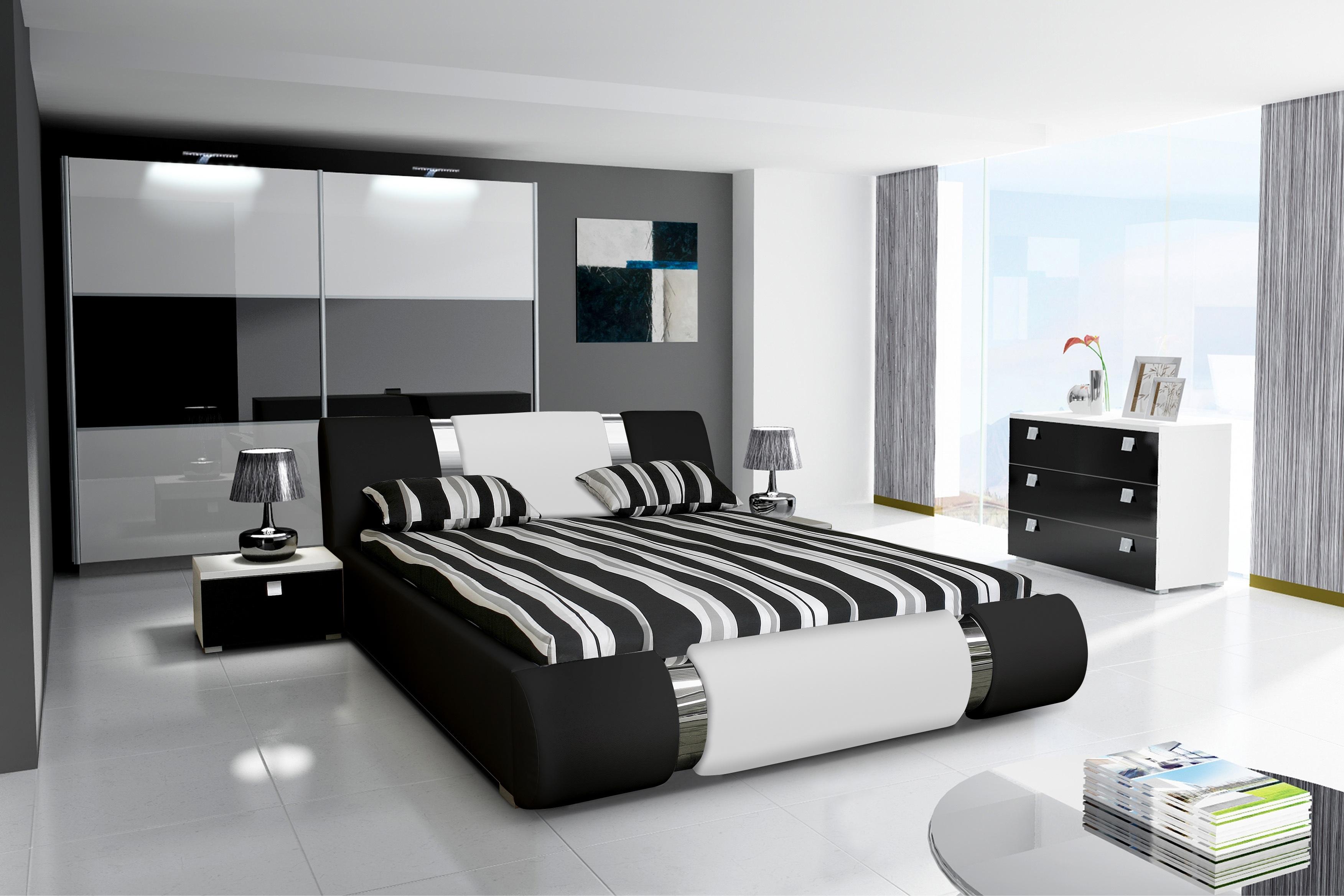łóżko Sypialne Z Materacem 176 Cm Czarne