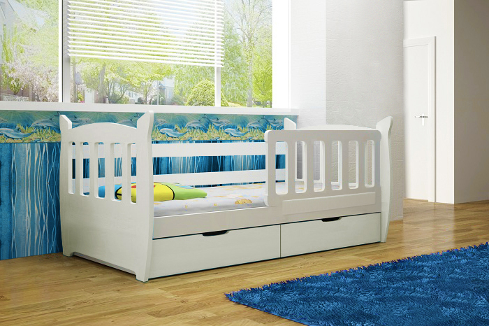 łóżko Dziecięce Z Materacem Białe