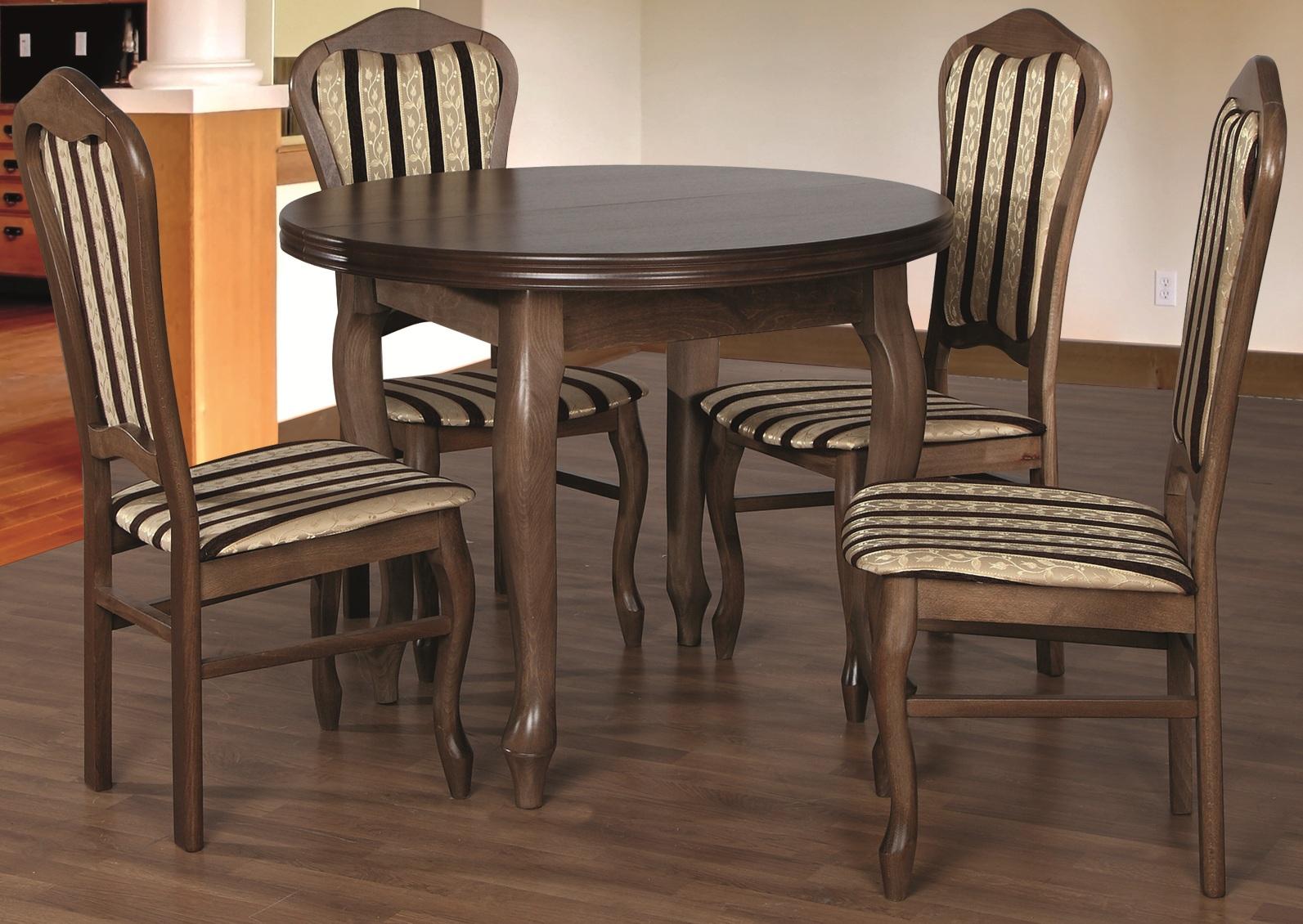 Stół Okrągły Rozkładany 4 Krzesła R24