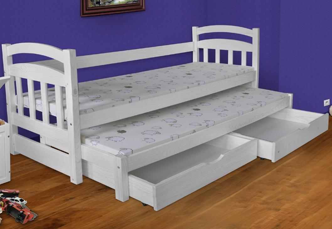 łóżko Podwójne Z Materacami Wojtek Białe