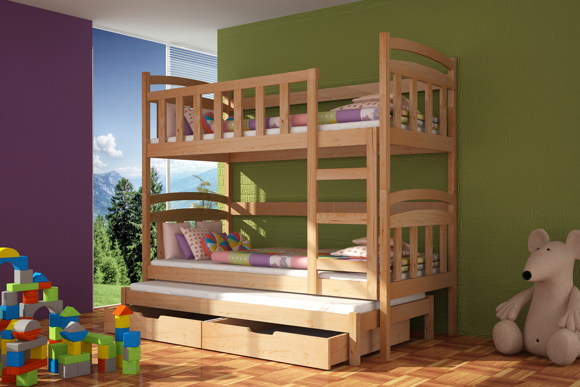 łóżko Piętrowe Kacper 3 Z Materacami